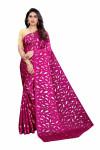 Rani pink color pure satin silk saree