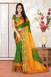 Mehndi green and yellow color hand bandhej bandhani saree