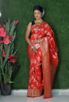 Red color soft kanchipuram silk saree with golden and silver zari weaving work