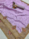 Lavender color pure silk saree with kashmiri embroidery work