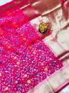 Rani Pink color kanchipuram silk saree with golden zari work