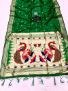 Green color paithani silk saree with attractive zari weaving pallu