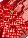 Red color kanchipuram silk saree with zari work