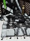 Black color soft organza silk saree with zari weaving bandhani print