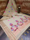 Cream color linen saree with zari weaving border