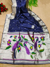 Navy blue color soft paithani silk saree with silver zari work