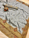 Gray color pure silk saree with kashmiri embroidery work