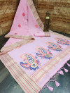 Pink color linen saree with zari weaving border