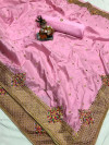 Baby pink color pure silk saree with kashmiri embroidery work
