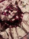 Magenta color soft banarasi silk saree with golden zari weaving work