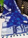 Blue color soft organza silk saree with zari weaving bandhani print