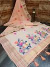 Peach color linen saree with zari weaving border