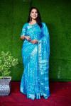 Sky blue color pure hand bandhej bandhani saree