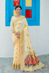Yellow color linen saree with woven work