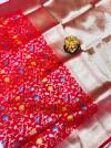 Red color kanchipuram silk saree with golden zari work