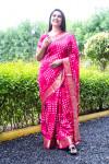 Pink color pure hand bandhej bandhani saree
