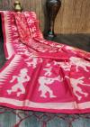 Pink color raw silk saree with zari woven contrast pallu
