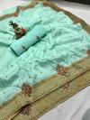 Sea green color pure silk saree with kashmiri embroidery work
