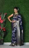 Navy blue color soft kanchipuram silk saree with golden and silver zari weaving work