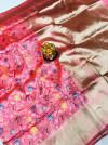 Baby pink color kanchipuram silk saree with golden zari work