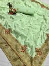 Pista green color pure silk saree with kashmiri embroidery work