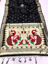 Black color paithani silk saree with attractive zari weaving pallu