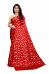 Red color pure satin silk saree