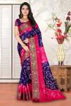 Blue and pink color hand bandhej bandhani saree
