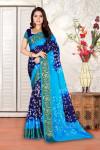 Navy blue and sky blue color hand bandhej bandhani saree