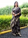 Black color pure hand bandhej bandhani saree
