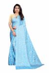 Sky blue color pure satin silk saree