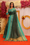 Green color soft raw silk saree with temple woven border