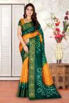 Yellow and green color hand bandhej bandhani saree