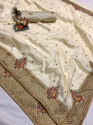 Yellow color pure silk saree with kashmiri embroidery work