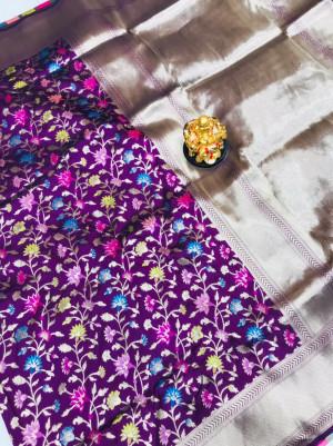 Magenta color kanchipuram silk saree with golden zari work