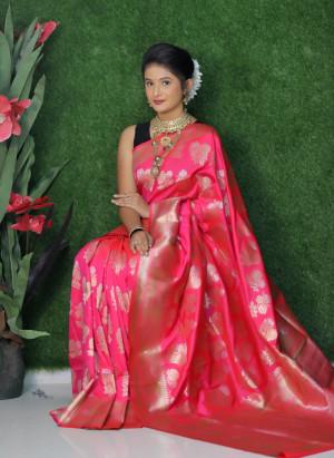Rani pink color soft kanchipuram silk saree with golden and silver zari weaving work