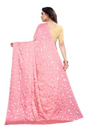 Baby pink color pure satin silk saree
