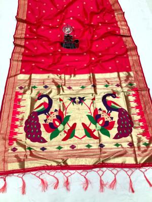 Pink color paithani silk saree with attractive zari weaving pallu