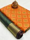 Orange color soft banarasi patola saree