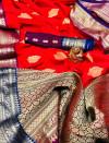 Soft silk saree with contrast zari border and pallu