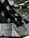 Black color soft banarasi silk saree with zari weaving pallu