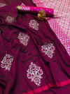 Lichi silk weaving saree with zari work