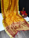 Chanderi cotton weaving saree with zari weaving checks