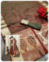 Soft satin silk saree with zari weaving work