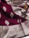 Magenta color soft banarasi silk saree with zari weaving pallu