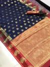 Soft lichi silk saree with zari weaving border and pallu