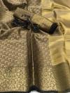 Kora muslin silk saree with rich pallu