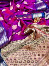 Soft silk saree with contrast zari border and pallu
