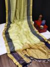 Chanderi cotton weaving saree with zari weaving checks