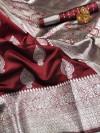 Soft banarasi silk saree with zari weaving pallu